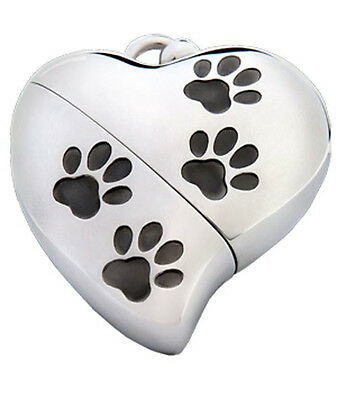 Heart Shaped w. Paw Design, USB Pet Brass Funeral Cremation Urn Pendant Necklace
