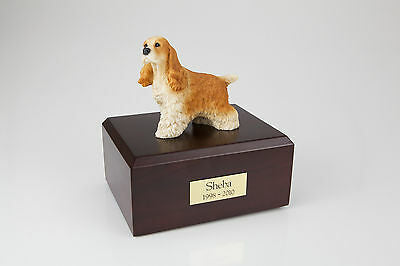 Tan Cocker Spaniel Pet Funeral Cremation Urn Avail in 3 Diff Colors & 4 Sizes