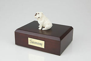 Bulldog, White Pet Funeral Cremation Urn Avail in 3 Different Colors & 4 Sizes
