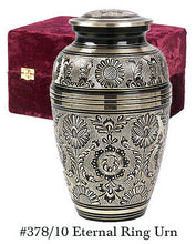Black and Gold Color, Adult Brass Funeral Cremation Urn w. Box, 202 Cubic Inches