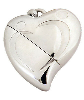 Heart Shaped w. Silver Design, USB Brass Funeral Cremation Urn Pendant Necklace