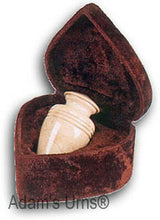 Load image into Gallery viewer, Small/Keepsake Cream Color Solid Marble Funeral Cremation Urn W Velvet Heart Box