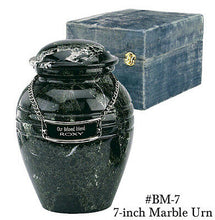 Load image into Gallery viewer, Black Natural Solid Marble Infant/Child/Pet Size Funeral Cremation Urn With Box