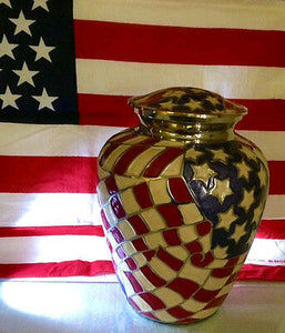 Patriotic American Flag Color, Brass Funeral Cremation Urn Keepsake w. Heart Box