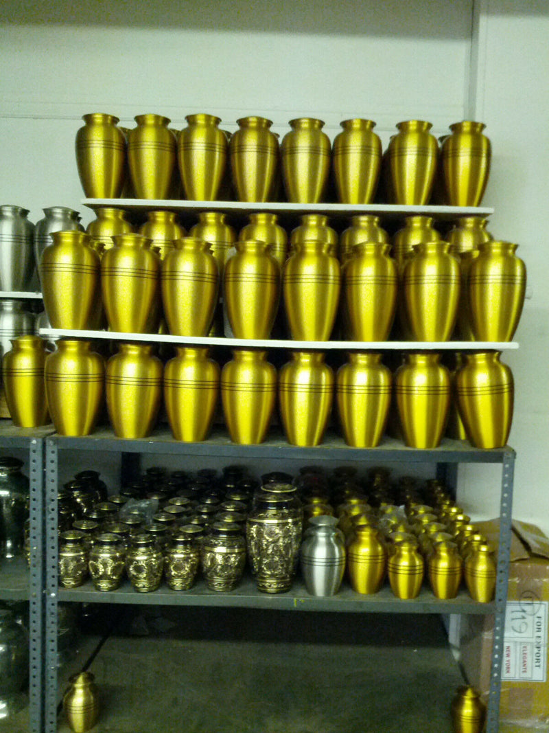 Adult Gold Colored, Brass Funeral Cremation Urn w. Box, Assorted Sizes Available