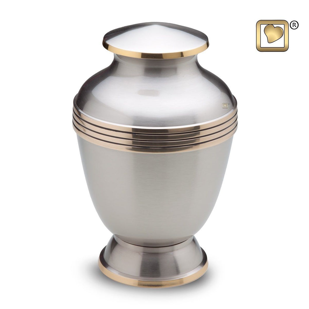 Elegant Pewter Adult Funeral Cremation Urn,  235 Cubic Inches