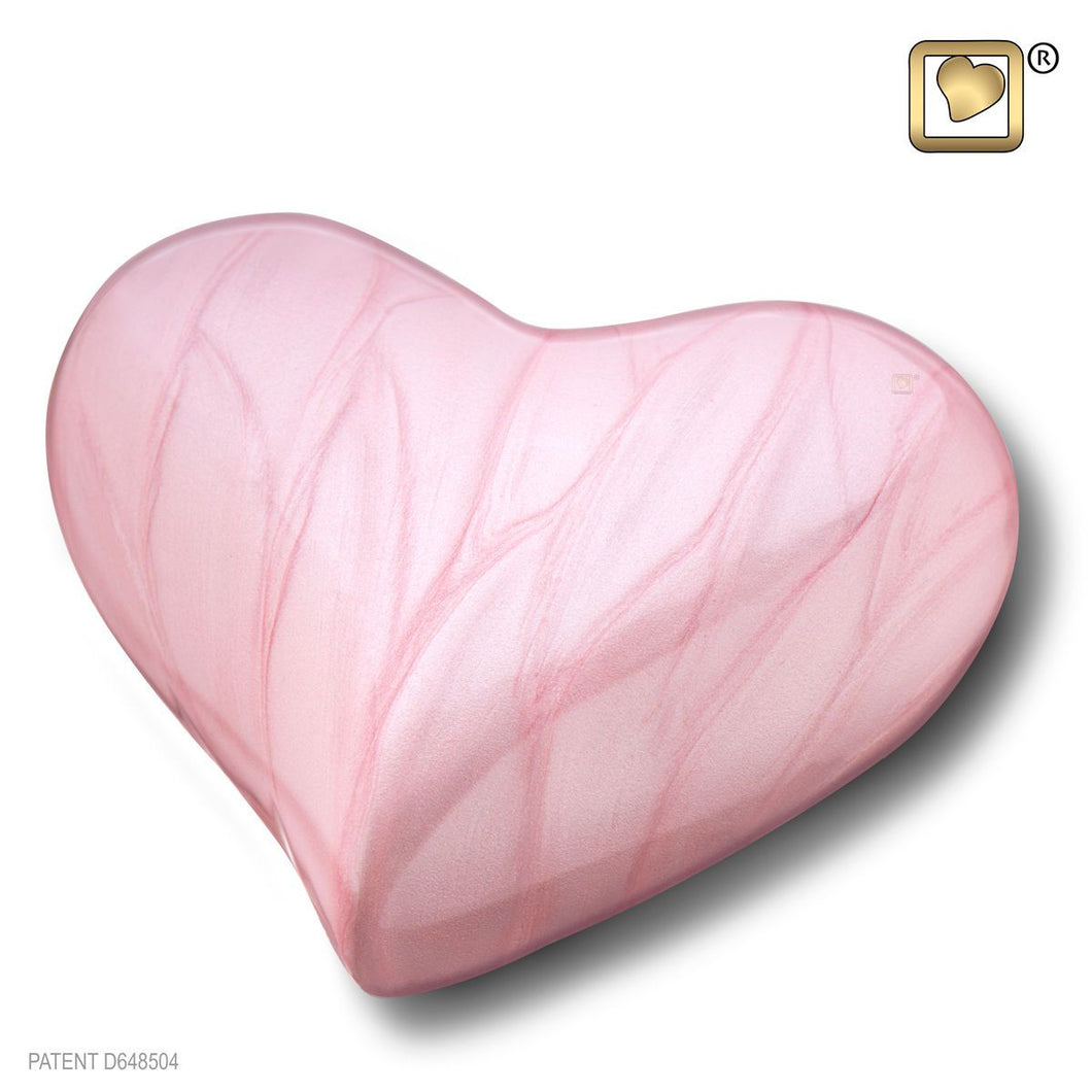Loveheart Pink Keepsake Funeral Cremation Urn, 3 Cubic Inches