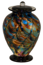 Large/Adult 220 Cubic Inch Venice Evening Funeral Glass Cremation Urn for Ashes