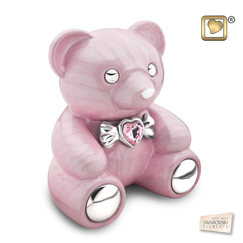 Pink Cuddle Bear Funeral Cremation Urn for Ashes, 100 Cubic Inches