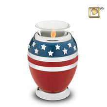 Load image into Gallery viewer, Stars & Stripes American Flag Keepsake Star Funeral Cremation Urn, 3 Cubic Inch
