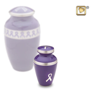 Purple Awareness Keepsake Funeral Cremation Urn, 3 Cubic Inches