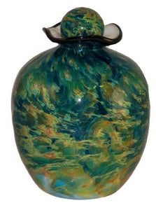 XL/Companion 400 Cubic Inch Rome Nuvole Funeral Glass Cremation Urn for Ashes