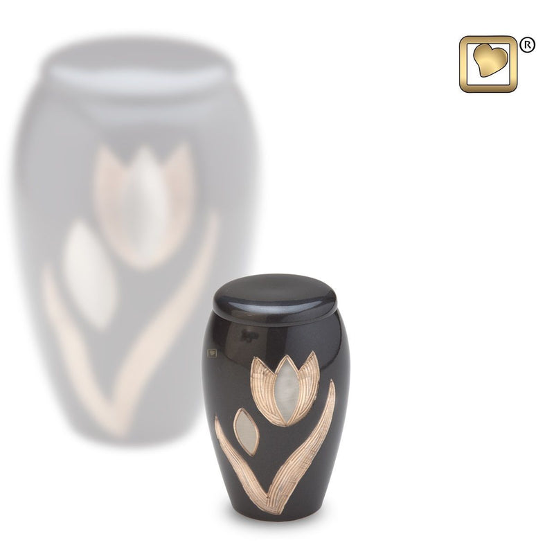 Majestic Tulips Keepsake Funeral Cremation Urn, 4 Cubic Inches