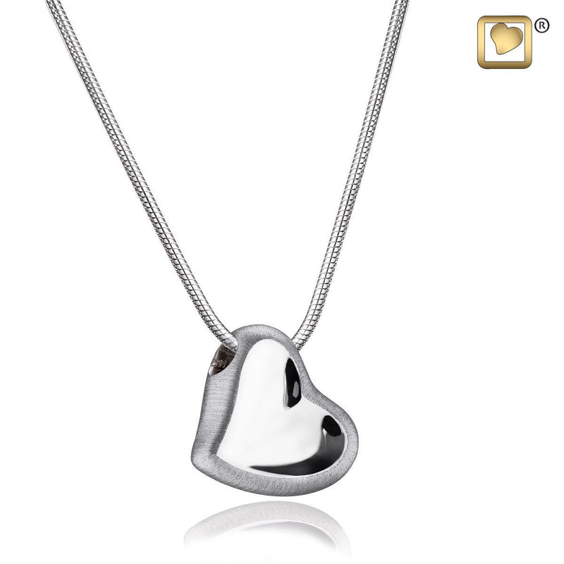 Leaning Heart Rhodium Plated 925 Silver 2-Tone Cremation Pendant Urn with chain