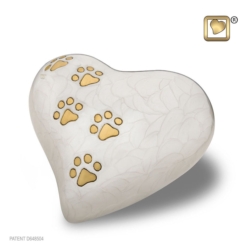 White Pearlescent Heart Keepsake Pet Funeral Cremation Urn, 3 Cubic Inches