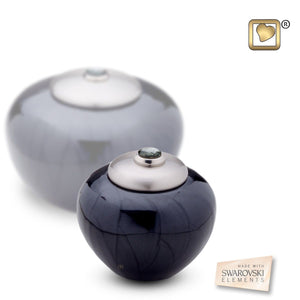 Simplicity Midnight Pearl Round Keepsake Funeral Cremation Urn,  5 Cubic Inches