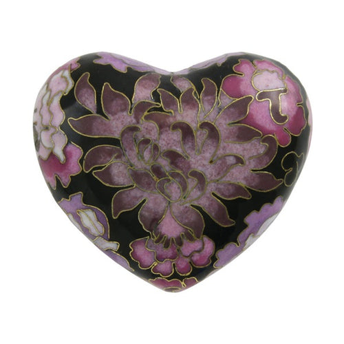 Purple Cloisonne Heart Keepsake Funeral Cremation Urn for Ashes, 3 Cubic Inch