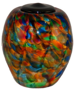 XL/Companion 400 Cubic In Florence Autumn Funeral Glass Cremation Urn for Ashes