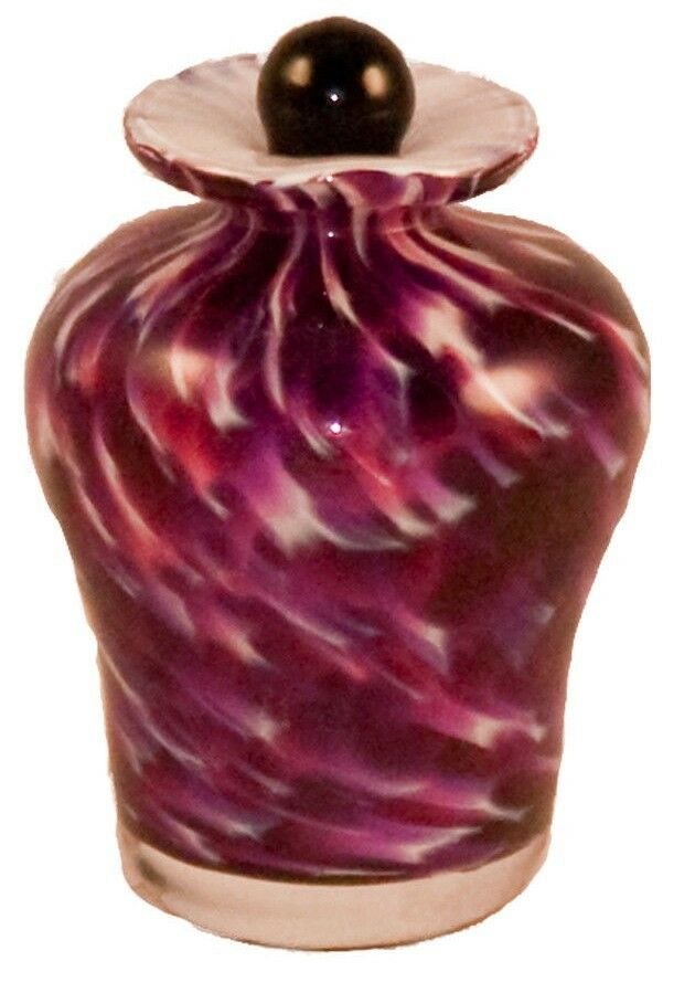 Small/Keepsake 3 Cubic Inch Palermo Rose Glass Funeral Cremation Urn for Ashes