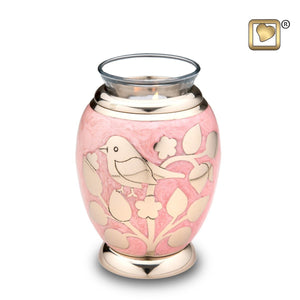 Gold Blessing Birds Infant/Child/Pet Tealight Funeral Cremation Urn, 20 Cubic In