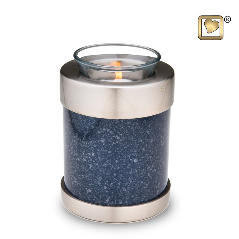 Indigo Classic Speckled Infant/Child/Pet Tealight Funeral Cremation Urn,18 Cu In