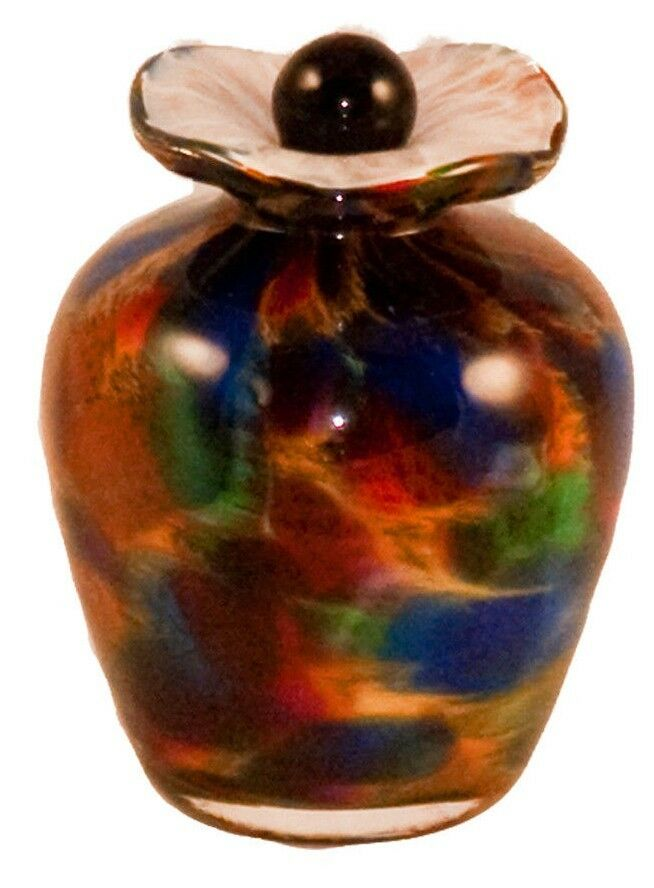 Small/Keepsake 3 Cubic Inch Rome Autumn Funeral Glass Cremation Urn for Ashes