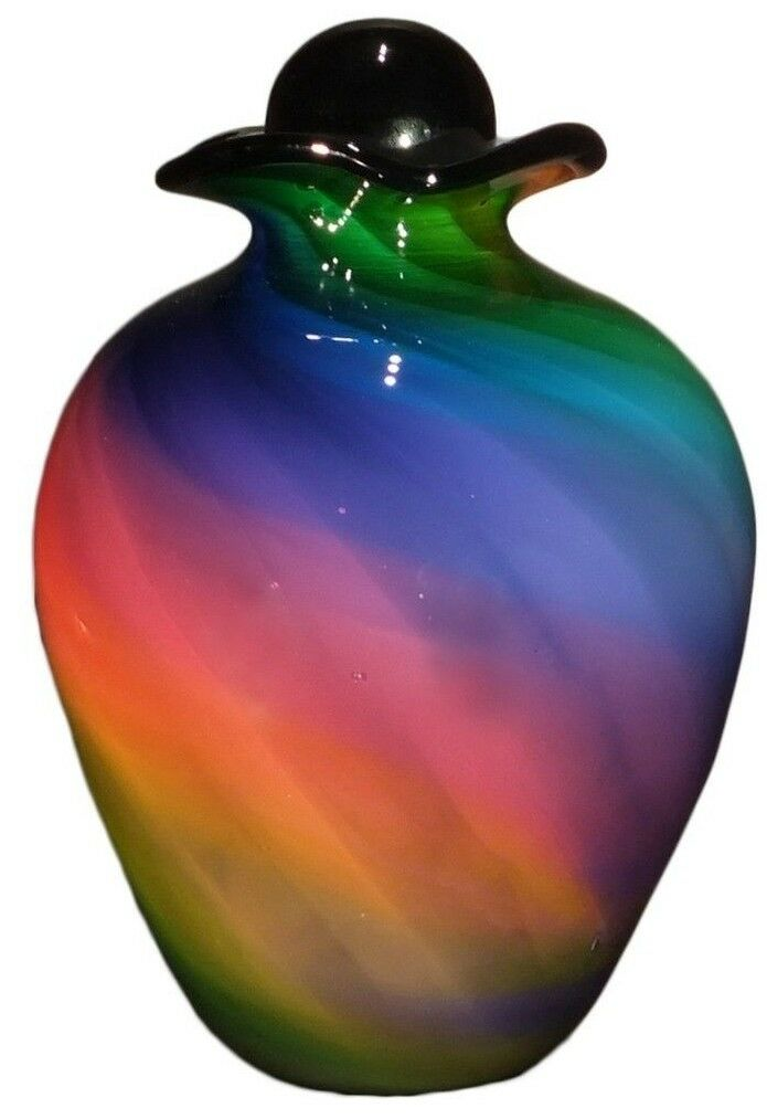Large/Adult 220 Cubic Inch Rome Rainbow Funeral Glass Cremation Urn for Ashes