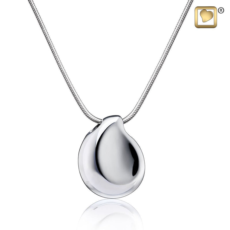 TearDrop Rhodium Plated 925 Silver Cremation Pendant Urn with chain