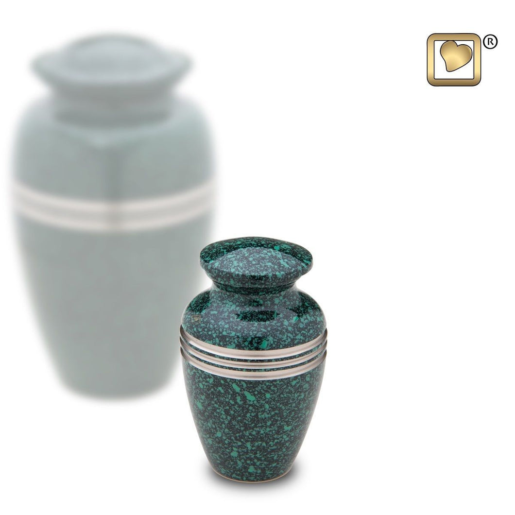 Emerald Classic Speckled Keepsake Funeral Cremation Urn, 3 Cubic Inches