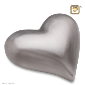 Heart Brushed Pewter Keepsake Heart Funeral Cremation Urn,  2.5 Cubic Inches