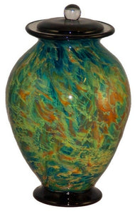 XL/Companion 400 Cubic Inch Venice Nuvole Funeral Glass Cremation Urn for Ashes