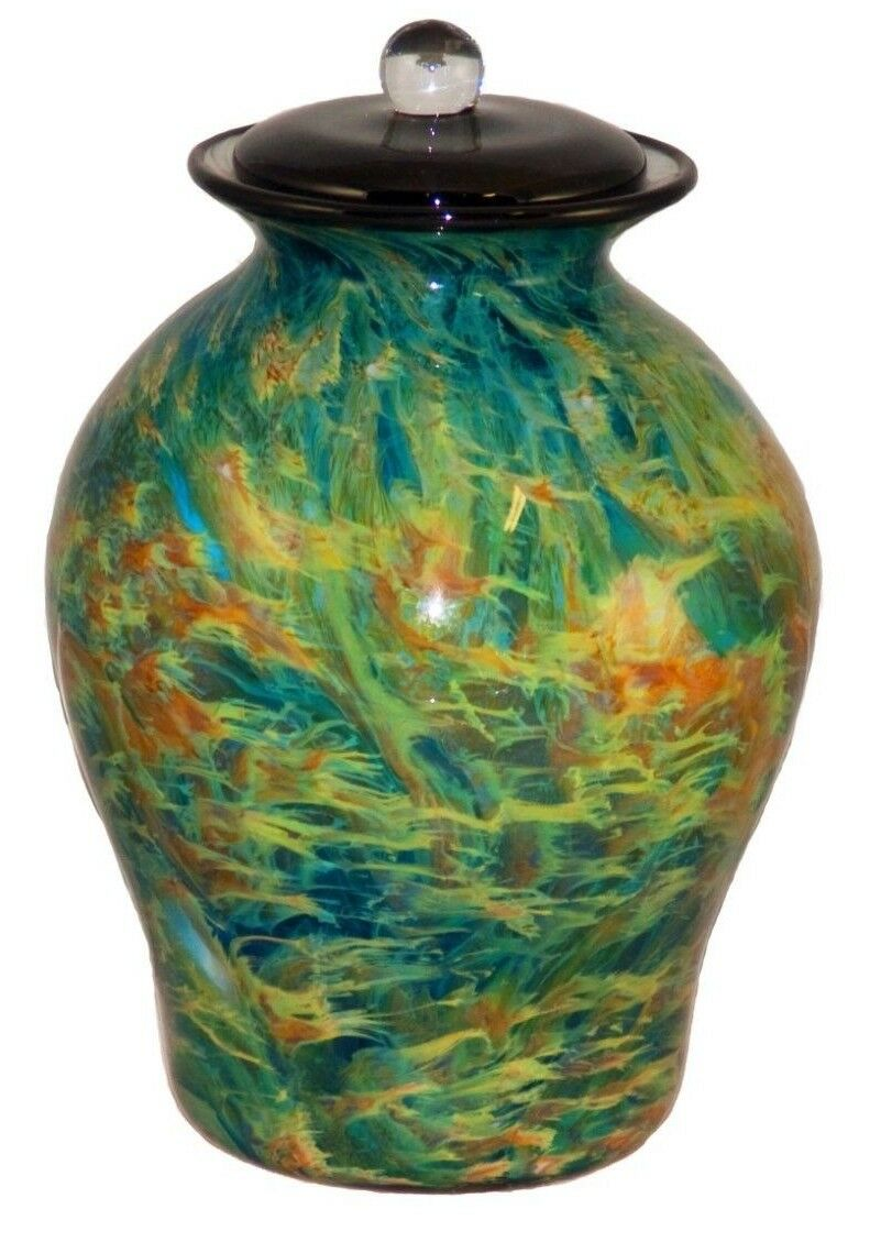 XL/Companion 400 Cubic Inch Palermo Nuvole Funeral Glass Cremation Urn for Ashes
