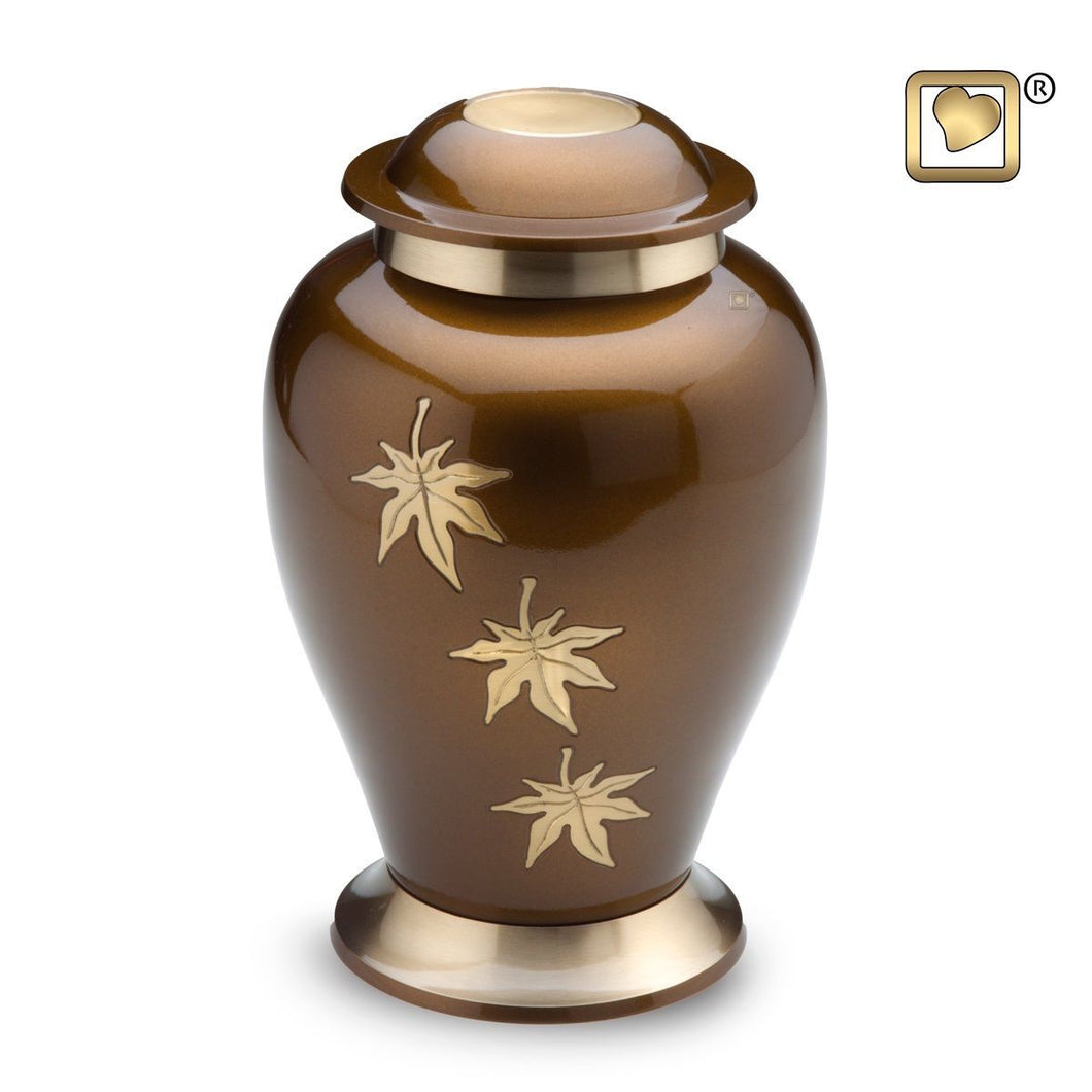 Tribute Falling Leaves Adult Funeral Cremation Urn,  200 Cubic Inches
