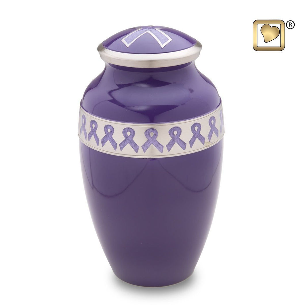Purple Awareness Adult Funeral Cremation Urn, 180 Cubic Inches