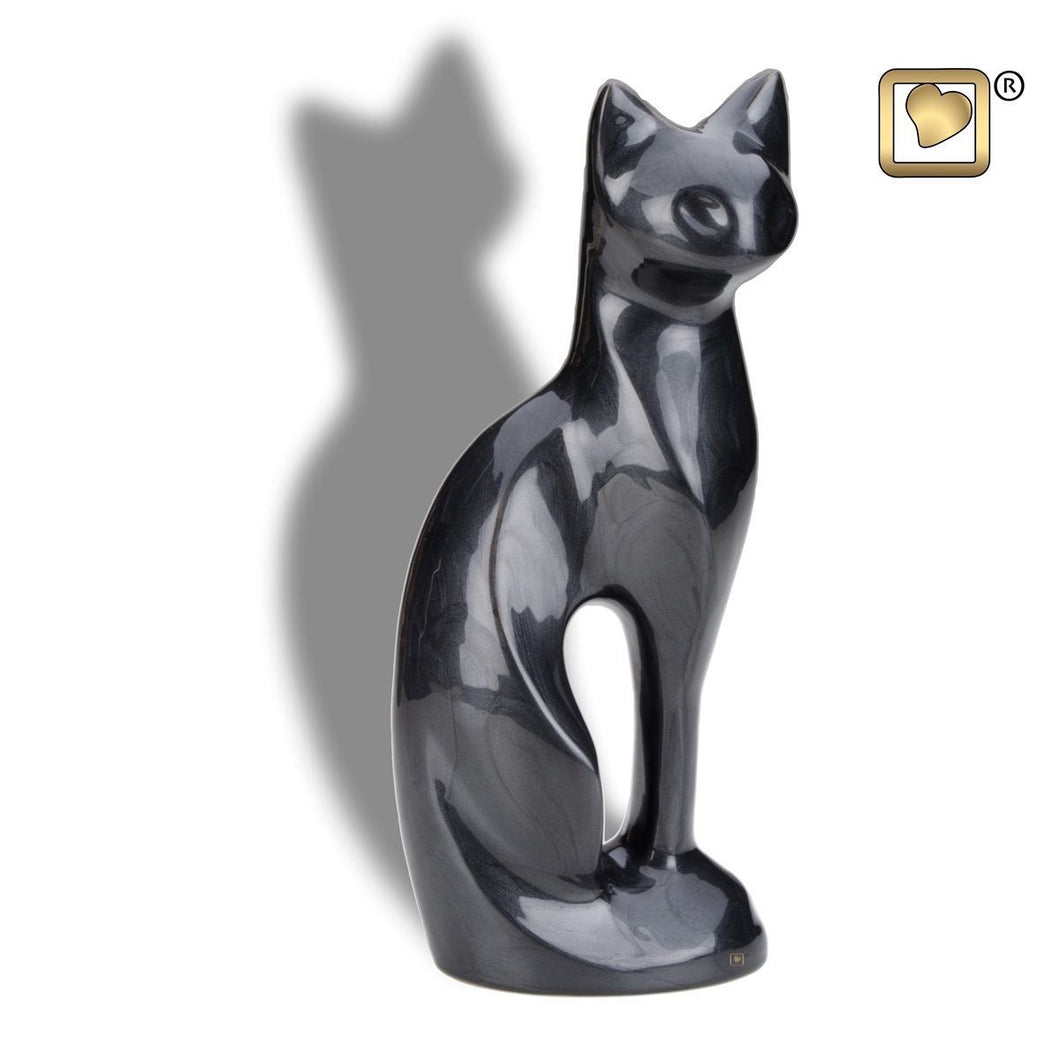 Midnight Cat Pet Funeral Cremation Urn, 16.5 Cubic Inches
