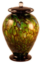 Large/Adult 220 Cubic Inch Venice Forest Funeral Glass Cremation Urn for Ashes