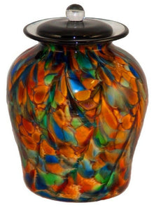 Large/Adult 220 Cubic Inch Palermo Autumn Funeral Glass Cremation Urn for Ashes