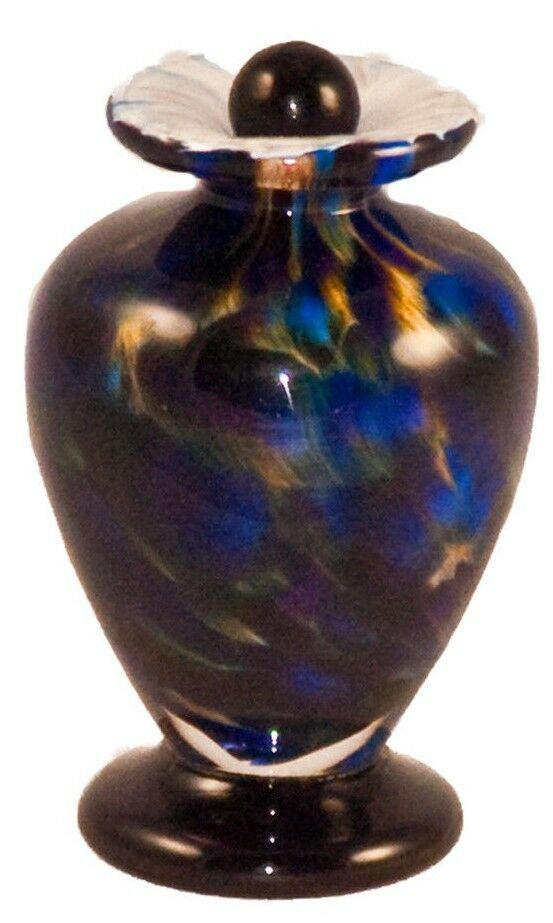 Small/Keepsake 3 Cubic Inch Venice Evening Funeral Glass Cremation Urn for Ashes