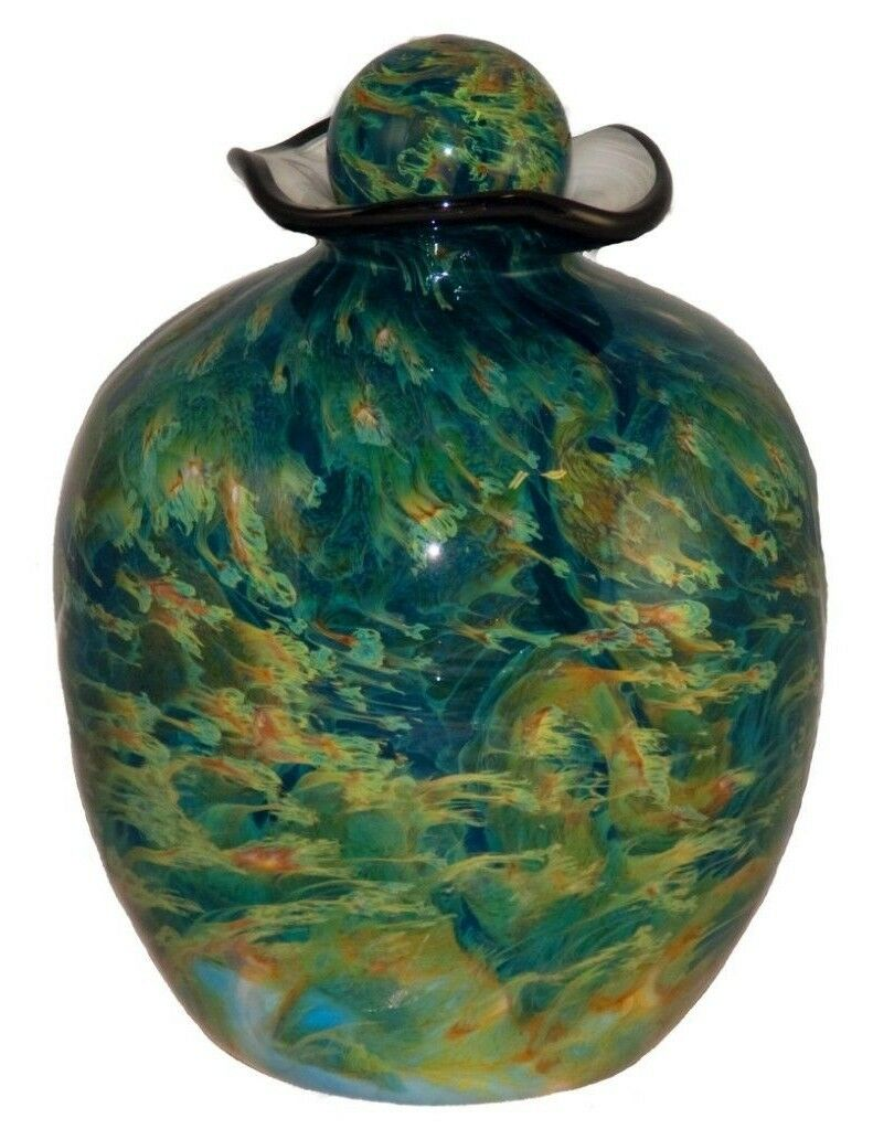 Large/Adult 220 Cubic Inch Rome Nuvole Funeral Glass Cremation Urn for Ashes