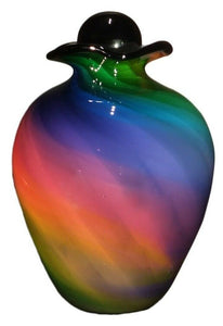 XL/Companion 400 Cubic Inch Rome Rainbow Funeral Glass Cremation Urn for Ashes