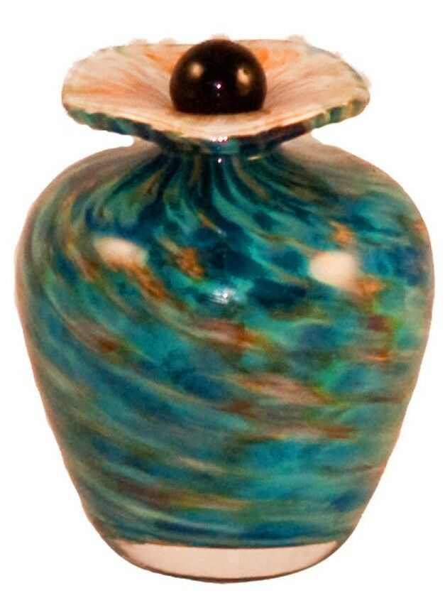 Small/Keepsake 3 Cubic Inch Rome Aegean Funeral Glass Cremation Urn for Ashes