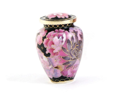 Purple Cloisonne Keepsake Funeral Cremation Urn for Ashes, 5 Cubic Inches