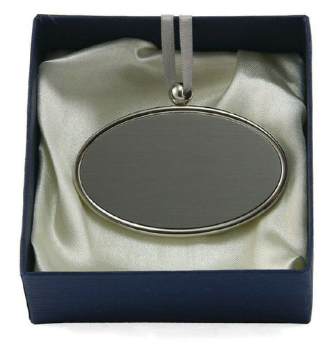 Alloy Oval Pendant / Nameplate / Medallion For Cremation Urns - Silver Colored
