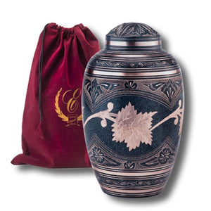 Patina Color Brass Keepsake Cremation Urn w. Velvet Heart Box, 3 Cubic Inches