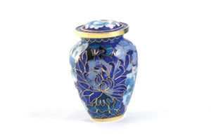 Blue Cloisonne Keepsake Funeral Cremation Urn for Ashes, 5 Cubic Inches