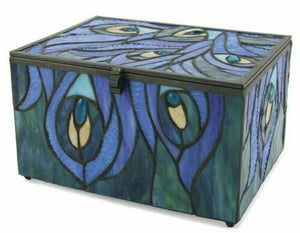 Large/Adult 200 Cubic Inch Stained Glass Paragon Cremation Urn w/LED - Peacock