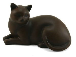 Small/Keepsake Tabby Cozy Cat Resin Funeral Cremation Urn, 25 Cubic Inches