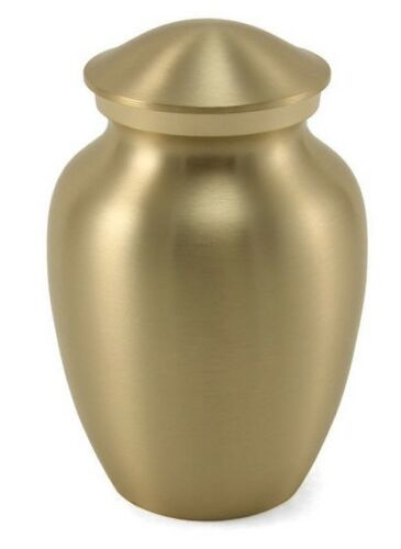Small/Keepsake Classic Pet Brass Funeral Cremation Urn, 85 Cubic Inches