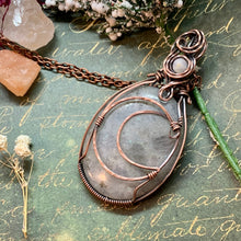 Labradorite and Moonstone in copper W/ Moon accent.