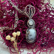 Dendritic Opal and Moonstone in silver